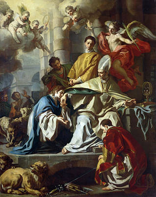 Francesco Painting - Saint Januarius Visited In Prison By Proculus And Sosius by Francesco Solimena