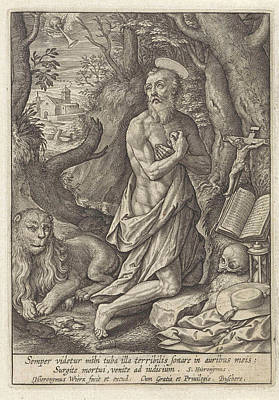 Hourglass Drawing - St. Jerome As A Penitent In The Desert, Hieronymus Wierix by Hieronymus Wierix