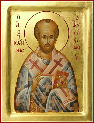 Byzantine Icon Painting - St John Chrysostom by Julia Bridget Hayes