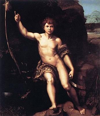 St. John The Baptist In The Desert Art Print by Raffaello Sanzio