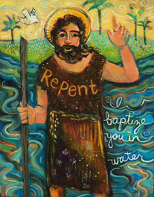 Baptizing Painting - St. John The Baptist by Jen Norton