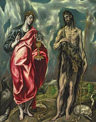 St John The Evangelist Painting - St John The Evangelist And St John The Baptist by El Greco Domenico Theotocopuli