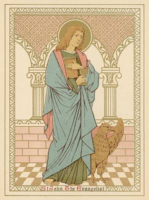 Icon Drawing - St John The Evangelist by English School