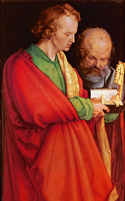 St. John With St. Peter And St. Paul With St. Mark, 1526 Oil On Panel Detail Of 170205 Art Print by Albrecht D�rer or Duerer