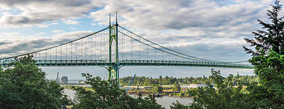 Photograph - St. Johns Bridge In Portland by Deimagine