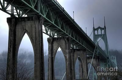 St Johns Bridge Oregon Art Print by Bob Christopher