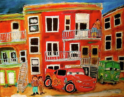 Le Plateau. Montreal Memories Painting - St. Joseph And Friends by Michael Litvack