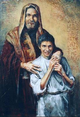 Youthful Painting - St. Joseph And Jesus by Christopher Santer