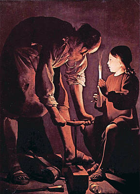 Child Jesus Painting - St Joseph As The Carpenter With Child Jesus by Celestial Images