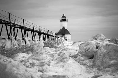 Photograph - St. Joseph Lighthouse In Ice Field by Kimberly Kotzian