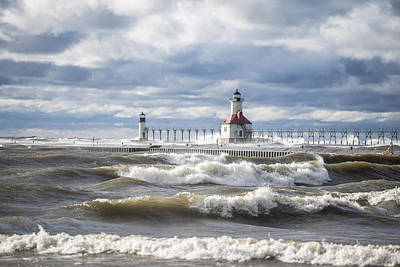 St Joseph Lighthouse On Windy Day Art Print