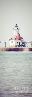 St. Joseph Lighthouse Vertical Panorama Photo Print by Paul Velgos