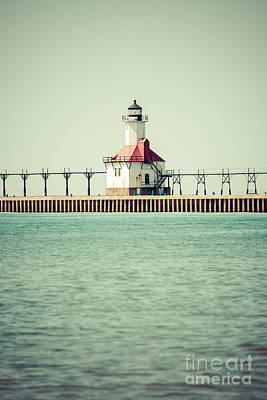 St. Joseph Lighthouse Vintage Picture  Art Print by Paul Velgos