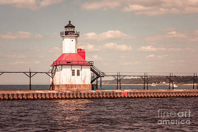 Lake House Photograph - St. Joseph Lighthouse Vintage Picture  Photo by Paul Velgos