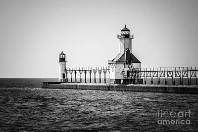 Lake House Photograph - St. Joseph Lighthouses Black And White Picture  by Paul Velgos