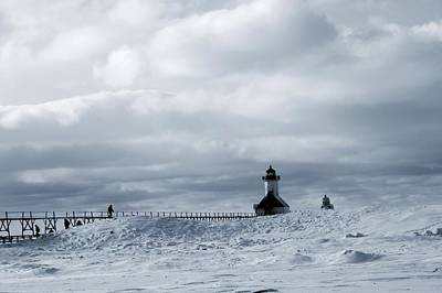 Photograph - St Joseph Michigan Lighthouse In Winter by Dan Sproul