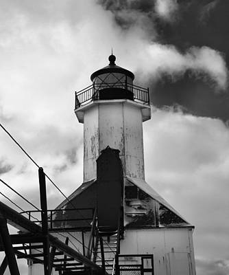 The Haven Photograph - St. Joseph Pier Lighthouse Black And White by Dan Sproul