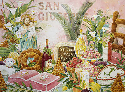 Sicily Painting - St. Joseph's Altar In Pink by Joyce Hensley