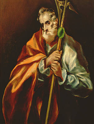 St. Jude Thaddeus, 1606 Oil On Canvas Print by El Greco