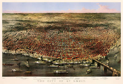 Beautiful. Pretty Drawing - St Louis 1873 by Mountain Dreams
