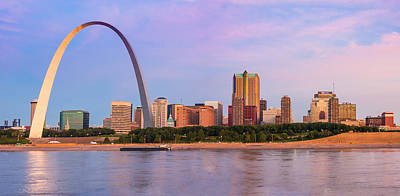 Photograph - St Louis Arch And Skyline At The Mississippi by Semmick Photo