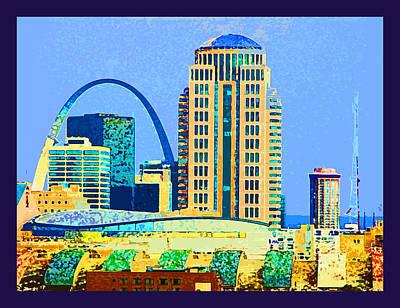 Digital Art - St. Louis Arch Skyline by John Lautermilch