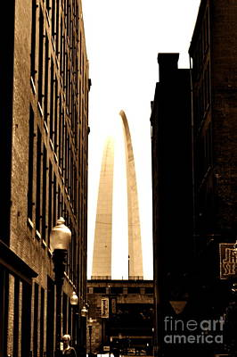 Photograph - St. Louis Arch Through Buildings by Utopia Concepts