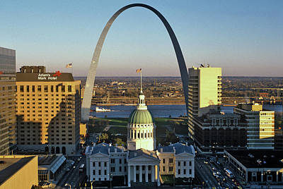 St. Louis Arch Photograph - St. Louis Arch With Old Courthouse by Panoramic Images