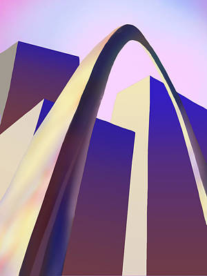 Digital Art - St Louis Arch With The City Skyline by Garry McMichael