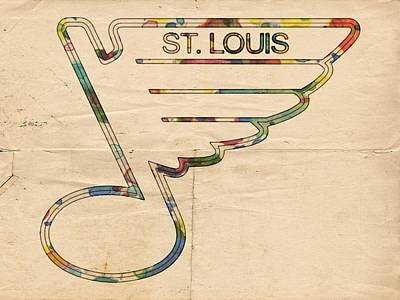 Painting - St Louis Blues Hockey Poster by Florian Rodarte