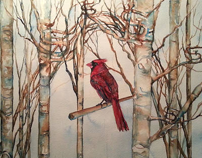 Art Print featuring the painting St Louis Cardinal Redbird by Christy  Freeman