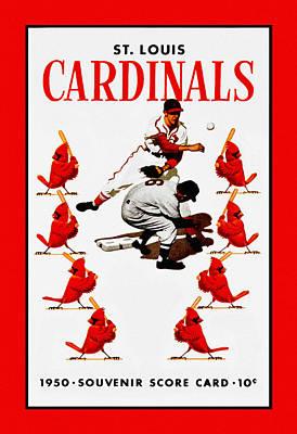 St Louis Cardinals Painting - St. Louis Cardinals 1950 Score Card by Big 88 Artworks