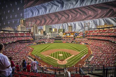 Photograph - St. Louis Cardinals Busch Stadium National Anthem Flag by David Haskett II