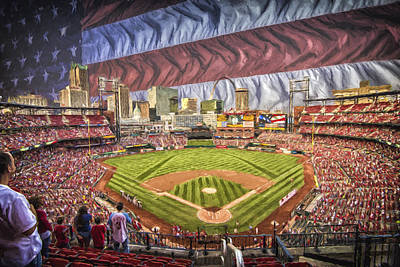 Photograph - St Louis Cardinals Busch Stadium National Anthem Paint by David Haskett II