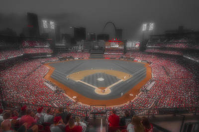 Photograph - St. Louis Cardinals Busch Stadium Red by David Haskett