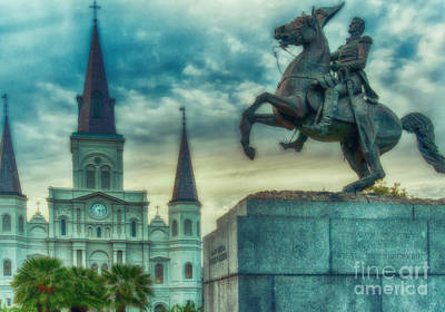 St. Louis Cathedral And Andrew Jackson- Artistic Art Print