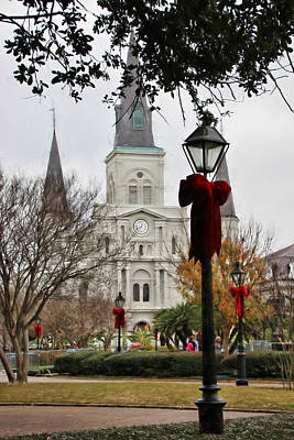 Photograph - St. Louis Cathedral At Christmas by Lynn Jordan