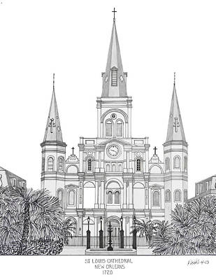 Mixed Media - St Louis Cathedral by Frederic Kohli