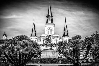 St. Louis Cathedral In New Orleans Black And White Picture Print by Paul Velgos