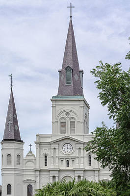 Photograph - St. Louis Cathedral Through Trees by Jim Shackett