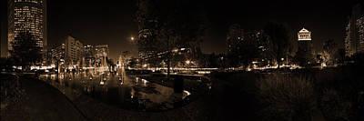 Photograph - St. Louis City Garden Night - Sepia by David Coblitz