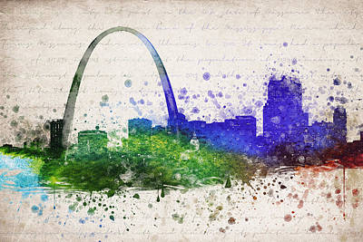 Usa United States Mixed Media - St Louis In Color by Aged Pixel
