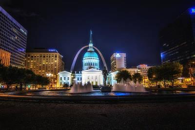 Photograph - St. Louis Missouri Night Skyline by David Haskett II