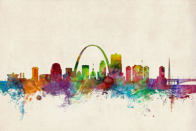 Watercolor Digital Art - St Louis Missouri Skyline by Michael Tompsett