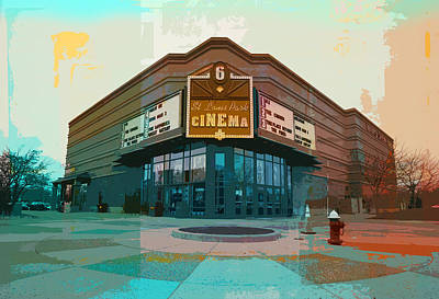 Blue And Red Digital Art - St. Louis Park Cinema by Susan Stone