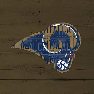 St Louis Rams Football Team Retro Logo Recycled Missouri License Plate Art Print by Design Turnpike