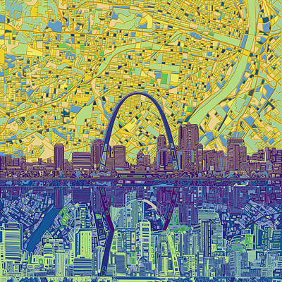 Abstract Digital Painting - St Louis Skyline Abstract 10 by Bekim Art