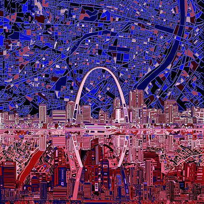 Painting - St Louis Skyline Abstract 6 by Bekim Art