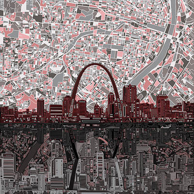 Abstract Digital Painting - St Louis Skyline Abstract 7 by Bekim Art