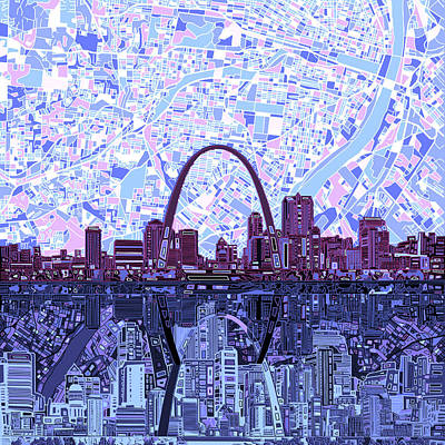 Abstract Skyline Paintings - St Louis Skyline Abstract 8 by Bekim M